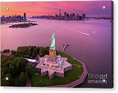 Liberty Island Twilight Acrylic Print by Inge Johnsson