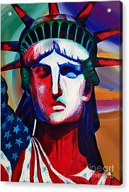 Liberty Of Statue New York 98jhm Acrylic Print by Gull G