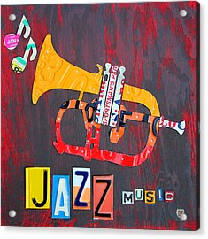 License Plate Art Jazz Series Number One Trumpet Acrylic Print by Design Turnpike