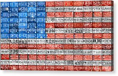 License Plate Flag Of The United States Acrylic Print