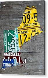 License Plate Map Of New England States Acrylic Print by Design Turnpike