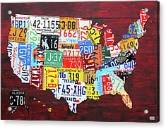 License Plate Map Of The United States Custom Edition 2017 Acrylic Print by Design Turnpike