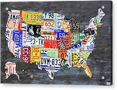 License Plate Map Of The United States Gray Edition 16 With Special Kodiak Bear Alaska Plate Acrylic Print by Design Turnpike