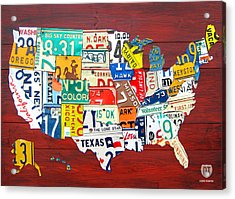 License Plate Map Of The United States - Midsize Acrylic Print by Design Turnpike