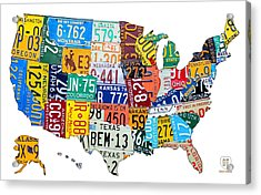 License Plate Map Of The United States Outlined Acrylic Print by Design Turnpike