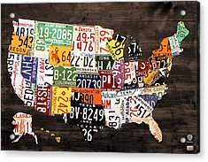 License Plate Map Of The United States - Warm Colors / Black Edition Acrylic Print