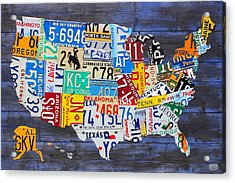 License Plate Map Of The Usa On Blue Wood Boards Acrylic Print by Design Turnpike