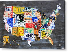 License Plate Map Of The Usa On Gray Distressed Wood Boards Acrylic Print by Design Turnpike