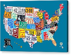 License Plate Map Of The Usa On Royal Blue Acrylic Print by Design Turnpike