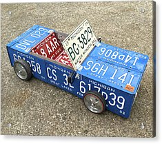 License Plate Vintage Roadster Mobile Made From Recycled Michigan Car Tags Acrylic Print by Design Turnpike