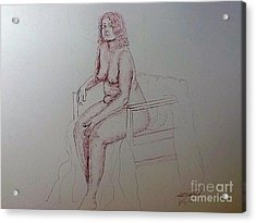 Life Drawing Nude Lady Acrylic Print