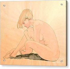 Life Drawing Watercolor Acrylic Print by Fred Jinkins