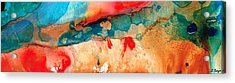 Life Eternal Red And Green Abstract Acrylic Print by Sharon Cummings