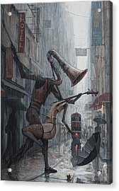 Life Is  Dance In The Rain Acrylic Print by Adrian Borda