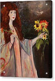 Acrylic Print featuring the painting Life Is Fragile Handle With Flowers by Jane Autry
