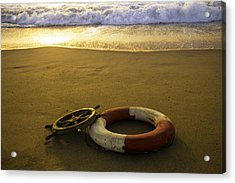 Life Ring On Beach Acrylic Print by Garry Gay