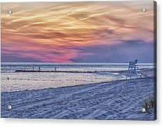 Lifeguard Chair At Sunset Acrylic Print by Tom Singleton