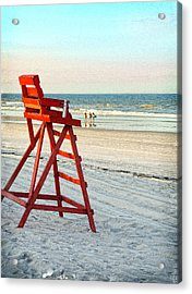Lifeguard Chair Acrylic Print by Linda Olsen