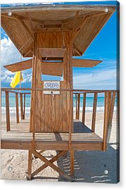 Lifeguard Hut On The Beach Acrylic Print by George Oze