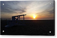 Acrylic Print featuring the photograph Lifeguard Stand And Sunrise by Robert Banach