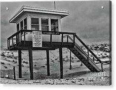 Lifeguard Station 1 In Black And White Acrylic Print by Paul Ward