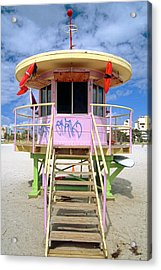 Lifeguard Station South Beach Miami  Florida Acrylic Print by George Oze