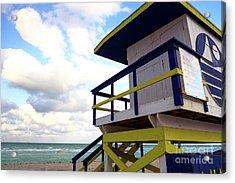 Lifeguard View On South Beach Acrylic Print by John Rizzuto
