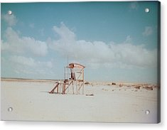 Lifesaver On Beach Acrylic Print by La FruU photography. Life through my lense