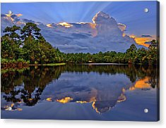Light Beam Sunset Over Hidden Lake In Jupiter Florida Acrylic Print