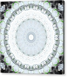 Light Blue Mandala- Art By Linda Woods Acrylic Print by Linda Woods