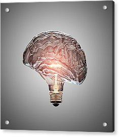 Light Bulb Brain Acrylic Print by Johan Swanepoel