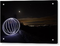 Light Painting On Skyline Drive Acrylic Print by Shannon Louder