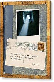 Light Through Window And Scripture Acrylic Print by Jill Battaglia