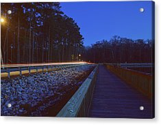 Light Trails On Elbow Road Acrylic Print