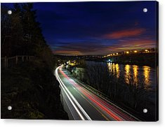 Light Trails On Highway 99 Acrylic Print by David Gn