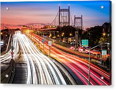 Light Trails On I-278 Near Triboro Bridge Acrylic Print