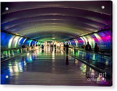 Light Tunnel At Detroit Metropolitan Wayne County Airport Acrylic Print by David Oppenheimer