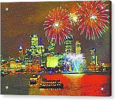 Acrylic Print featuring the digital art Light Up Night In Pittsburgh by Digital Photographic Arts