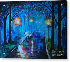 Acrylic Print featuring the painting Lighted Parkway by Leslie Allen