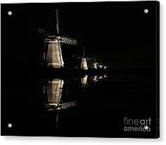 Lighted Windmills In The Black Night Acrylic Print
