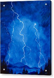 Lightening Storm In The Mountains Acrylic Print by Lorraine Foster