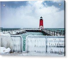 Lighthouse And Ice Acrylic Print