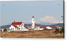 Acrylic Print featuring the photograph Lighthouse And Mountain by Lynn Bawden