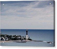 Lighthouse And Rain Clouds Acrylic Print