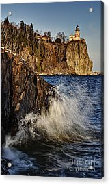 Acrylic Print featuring the photograph Lighthouse And Spray by Larry Ricker