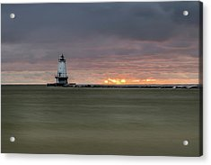 Lighthouse And Sunset Acrylic Print