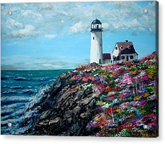 Lighthouse At Flower Point Acrylic Print by Jack Skinner