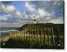 Lighthouse At Montauk With Dramatic Sky Acrylic Print by Skip Brown