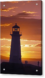 Lighthouse At Sunset In Peggys Cove Acrylic Print by Richard Nowitz
