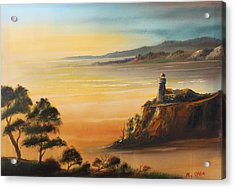 Lighthouse At Sunset Acrylic Print by Remegio Onia